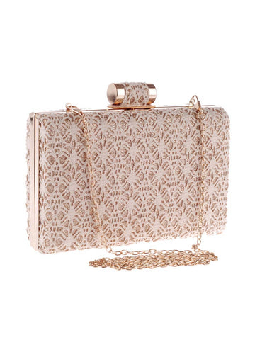 Decorative Lace Squared Evening Clutch Bag - Bychicstyle.com