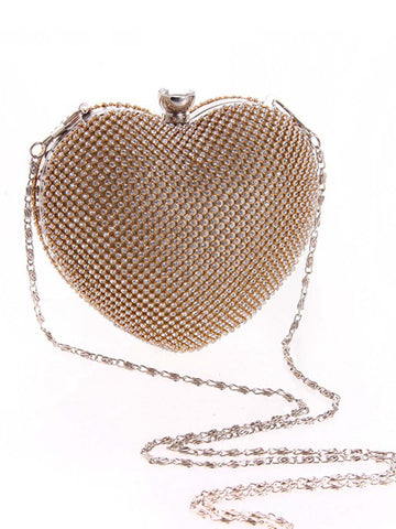 Gold Heart Rhinestone Evening Clutch Bag - Bychicstyle.com