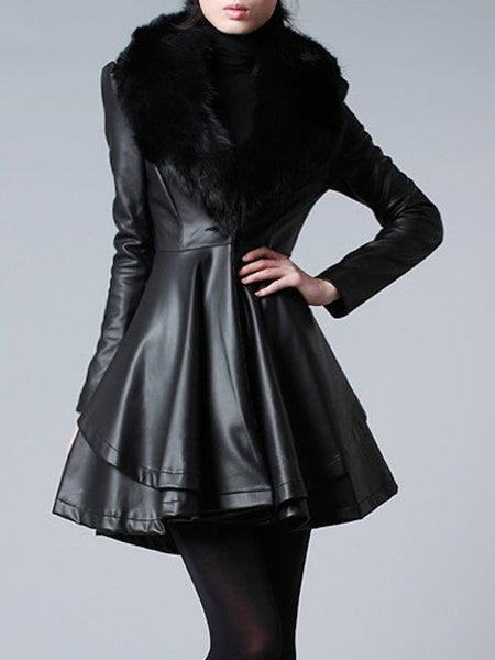 Plain Fur Collar Fascinating Imitation Leather Overcoats - Bychicstyle.com