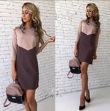 ByChicStyle Casual Winter New Stitching Hit Casual Color Dress Skirt