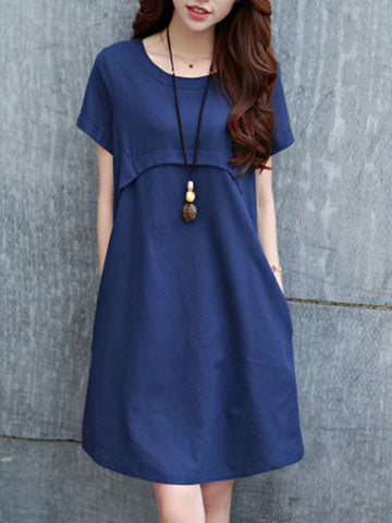 Round Neck Plain Cotton/Linen Shift Dress - Bychicstyle.com
