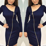 ByChicStyle Dark Blue Zipper Cut Out Long Sleeve Fashion Midi Dress