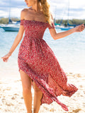 Red Off Shoulder Split Side Floral Maxi Dress