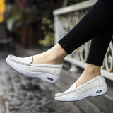 ByChicStyle Casual White Leather Slip On Platform Breathable Nurse Shoes