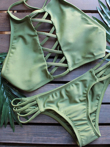 Casual Green Solid Lace Up Bikini Set