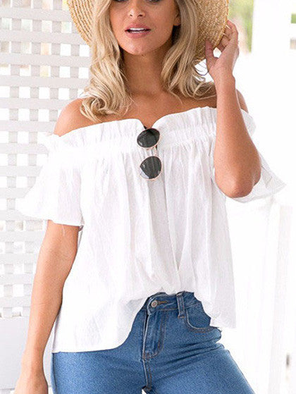 Casual Trendy Times Off The Shoulder White Solid Top
