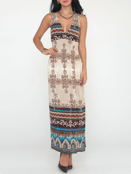 Casual Attractive V Neck Paisley Printed Tribal Maxi-dress