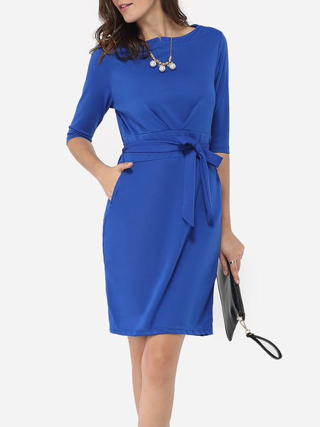 Bowknot Boat Neck Dacron Plain Bodycon-dress - Bychicstyle.com