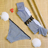 ByChicStyle White Striped Bandeau 2-in-1 Boat Neck Fashion Bikini Swimming Suit
