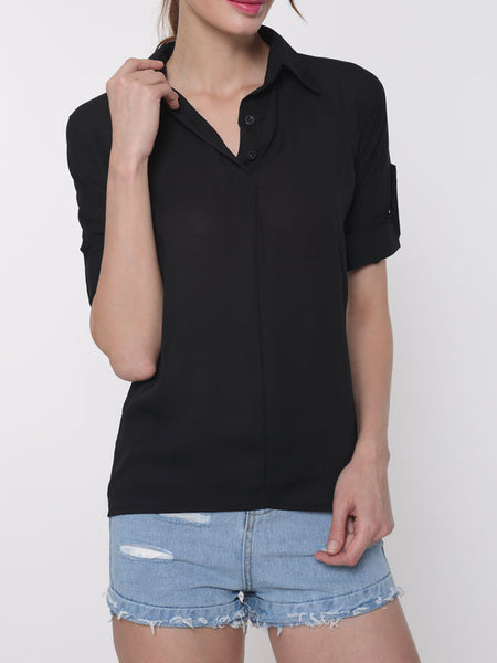 Concise V Neck Plain Blouse - Bychicstyle.com