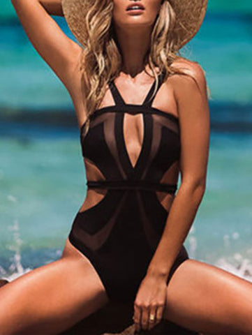 Casual Black Solid Sexy One Piece Bikini