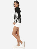 ByChicStyle Boat Neck Dacron Striped Long-sleeve-t-shirt - Bychicstyle.com