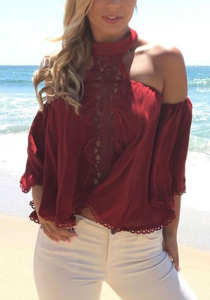 Red Patchwork Lace Cut Out Round Neck Fashion Blouse