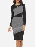 ByChicStyle Casual Assorted Colors Stripes Zips Charming Elegant Round Neck Bodycon-dress
