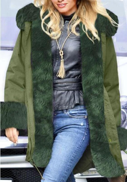 Army Green Patchwork Drawstring Irregular Hooded Long Sleeve Faux Fur Thick Coat