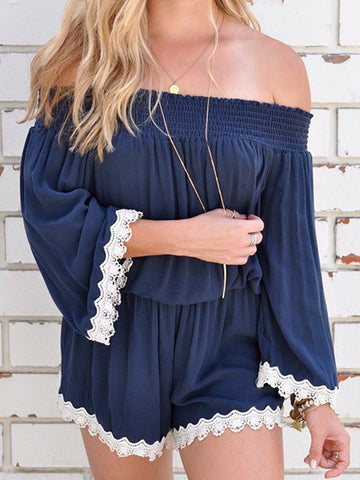 Casual Fashion Bateau Off Shoulder Solid Color Romper