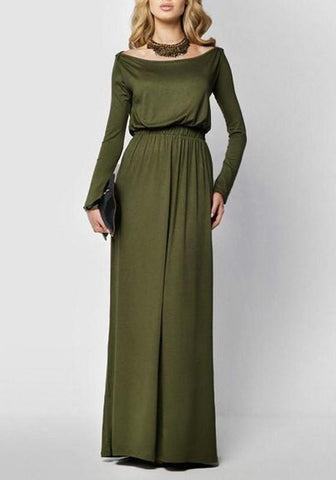 Army Green Boat Neck Draped Long Sleeve Elegant Maxi Dress