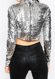 ByChicStyle Silver Crop Sequin Zipper Round Neck Long Sleeve Blouse