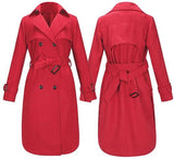 ByChicStyle Red Plain Belt Buttons Pockets Turndown Collar Double Breasted Casual Coat
