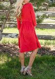 ByChicStyle Red Draped 3/4 Sleeve High Waisted Elegant Party Midi Dress