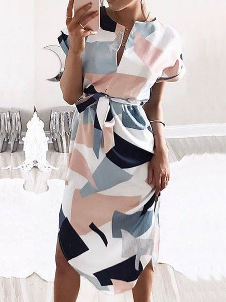 Casual Cute Strappy Geometric Multi Color Dress