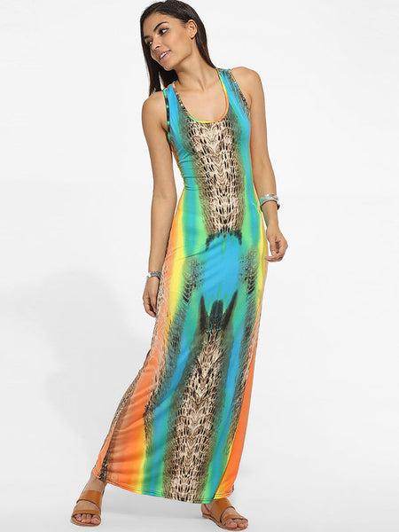 Scoop Neck Dacron Hollow Out Printed Maxi Dress - Bychicstyle.com