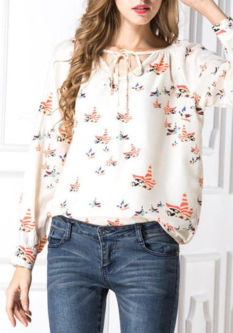 Beige Floral Drawstring V-neck Long Sleeve Fashion Blouse