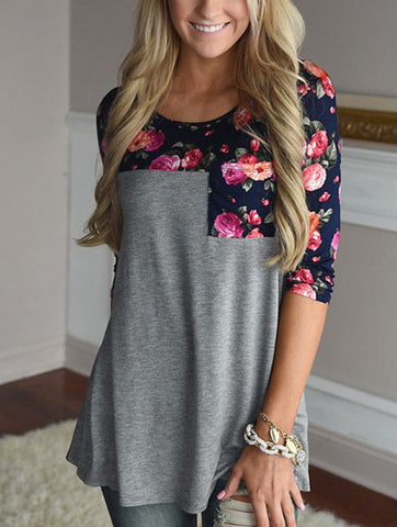 Casual Fashion Round Neckline Over Size Floral Print Top