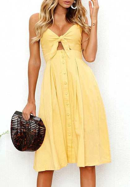 Yellow Irregular Cut Out Bow Sleeveless Fashion Midi Dress