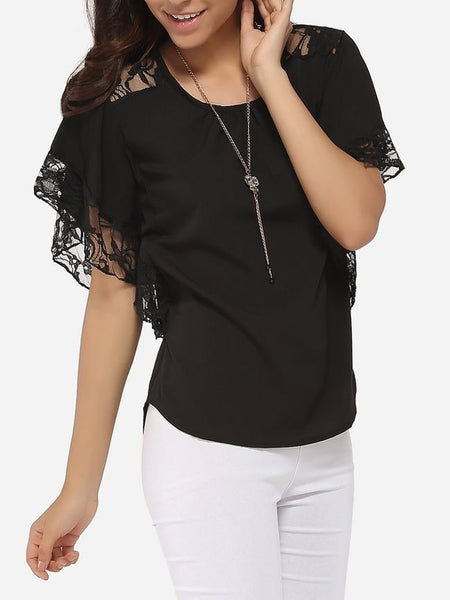 Casual Batwing Loose Fitting Round Neck Chiffon Lace Hollow Out Lace Patchwork Plain Blouse