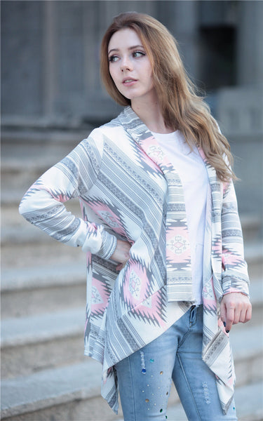 Casual Geometric Print Irregular Collar Long Sleeve Cardigan Sweater