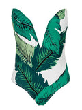 ByChicStyle Casual Forest Vibes Sexy V neck Swimsuit One Piece Bikini