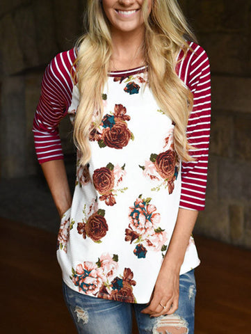 Casual Striped Floral Print Round Neckline Top