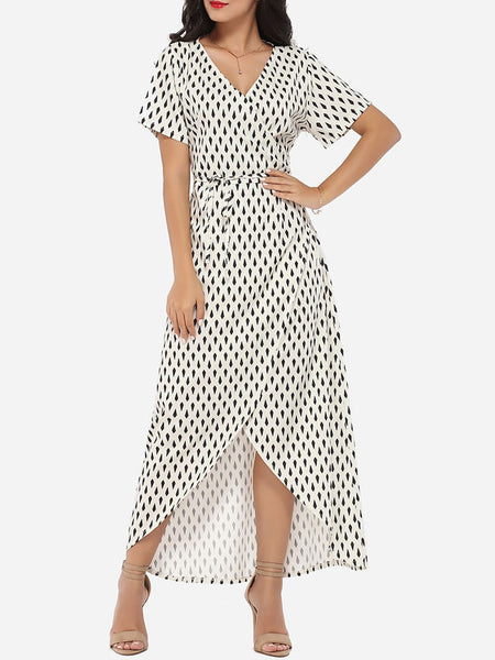Casual Asymmetrical Hems V Neck Dacron Printed Maxi Dress