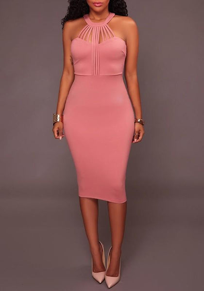 Pink Cut Out Zipper Round Neck Fashion Midi Dress