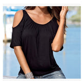 ByChicStyle Women Blouse 2018 New Fashion Sexy Short Sleeve Cold Shoulder Top Casual Shirt Black White Red Blue