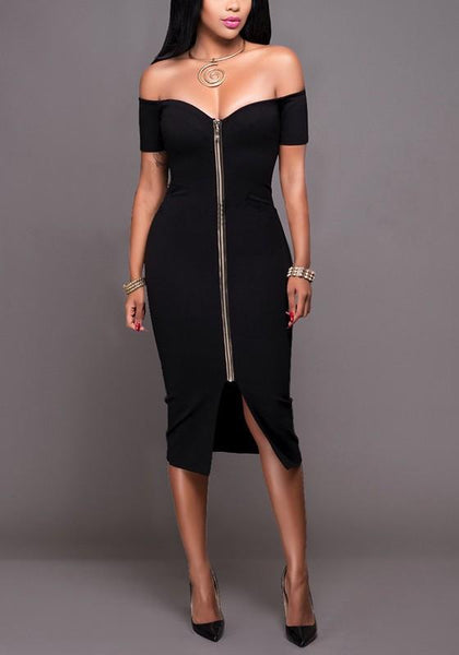 Black Plain Zipper Boat Neck Short Sleeve Fashion Midi Dress
