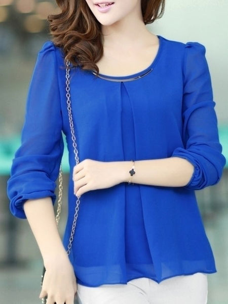 7 Color Round Neck Chiffon Plain Long-sleeve-t-shirt - Bychicstyle.com