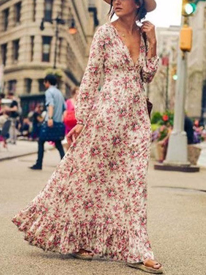 Casual Boho Sexy Deep V Plunge Floral Print Maxi Dress