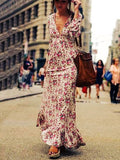 Streetstyle  Casual Boho Sexy Deep V Plunge Floral Print Maxi Dress