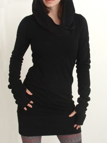 Charming Plain Delightful Hooded Knitted-dress - Bychicstyle.com