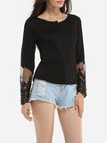 ByChicStyle Round Neck Cotton Lace Patchwork Plain Printed Seethrough Long-sleeve-t-shirt - Bychicstyle.com