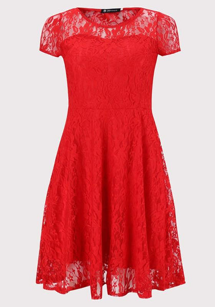 Red Lace Pleated Plus Size Round Neck Elegant Party Midi Dress