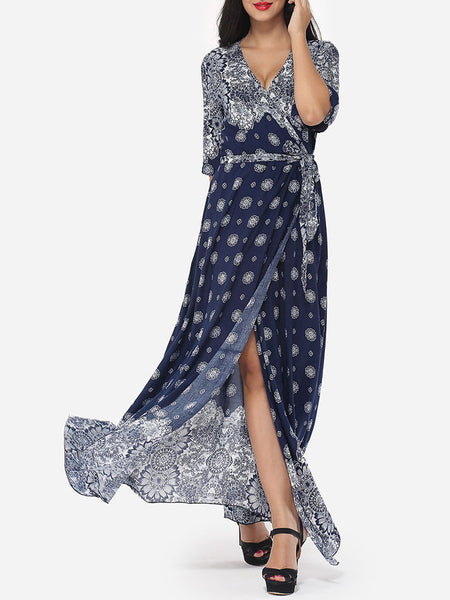 Bohemian Printed Split Cross Straps Loose Fitting Charming V Neck Maxi-dress - Bychicstyle.com