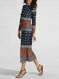 ByChicStyle Casual Band Collar Floral Paisley Printed Maxi Dress
