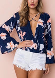 ByChicStyle Dark Blue Floral Ruffle Cut Out V-neck Fashion Blouse
