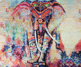 ByChicStyle Casual Beach Boho Multi Elephant Print Color Beach Blanket