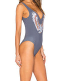ByChicStyle Casual Fashion Open Back Eagle Print Chic Swimwear One Piece Bikini