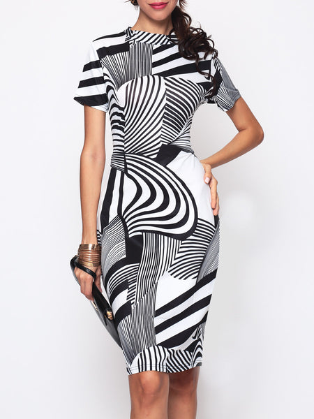 Striped Printed Band Collar Bodycon Dress - Bychicstyle.com
