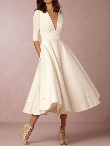 Casual Deep V neck White Solid Dress